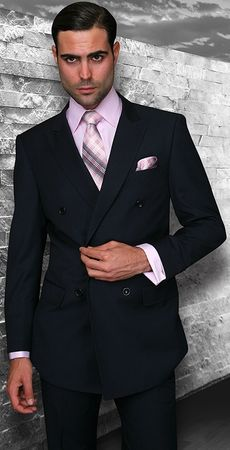 Statement Mens Double Breasted Solid Navy Wool Suits TZD-100 Size 40 Reg Final Sale