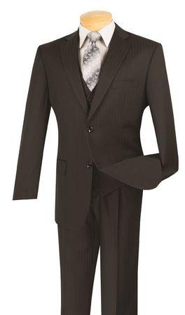 Mens 3 Piece Suit Regular Fit Black Tonal Stripe Vinci V2TT-8 - click to enlarge
