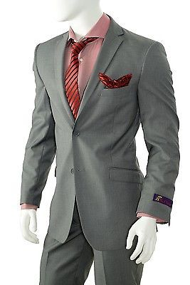 Men's Slim Fit Suit Solid Gray Center Vent 2 Piece Orsini S62KR