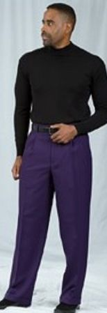 Pacelli Dark Purple Pleated Baggy Fit Dress Pants 810049 - click to enlarge