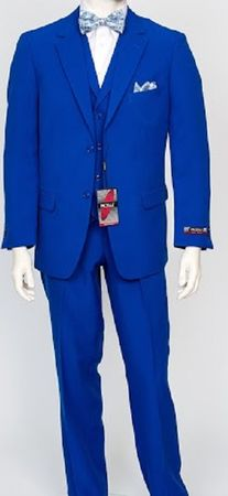 Pacelli Mens Royal 3 Piece Lapel Vest Dress Suit Cameron 10011 - click to enlarge