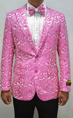Paisley Blazers Fuchsia Mens Dinner Jacket Alberto Paisley-100 - click to enlarge