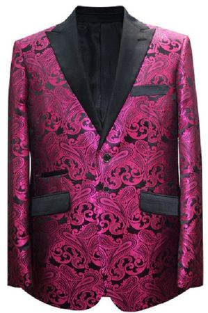 Paisley Blazers Fuchsia Mens Dinner Jacket Alberto Paisley-400 - click to enlarge