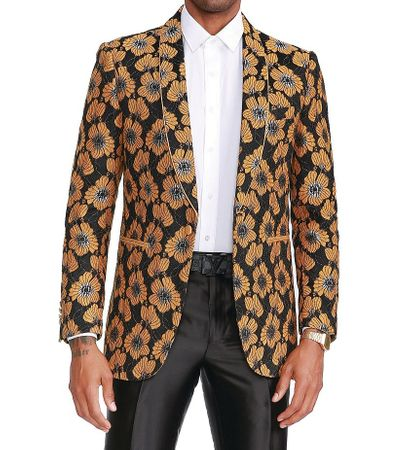Empire Yellow Floral Mens Dinner Jacket ME344H-01