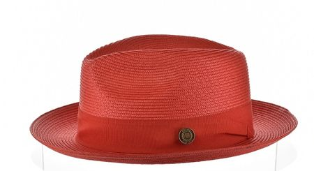 Panama Hat Red Men's Summer Fedora Bruno FN823 Size L