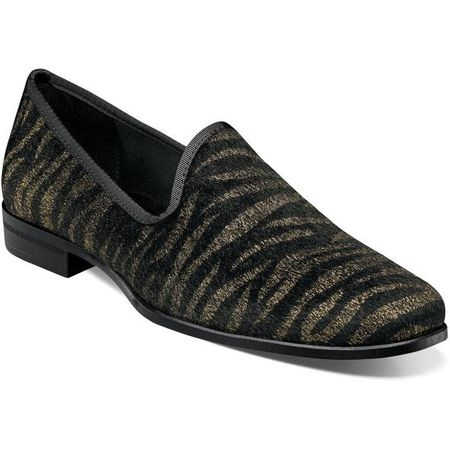 Party Shoes Velvet Black Gold Tiger Stripe Stacy Adams 25337-715
