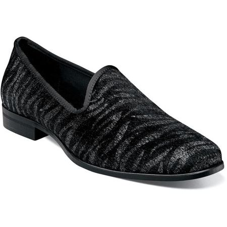 Party Shoes Velvet Black Gray Tiger Stripe Slip On Stacy Adams 25337-042