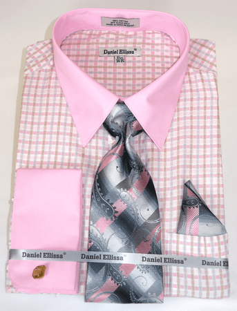 Pink Plaid Shirts with Ties French Cuff Daniel Ellissa DS3805P2