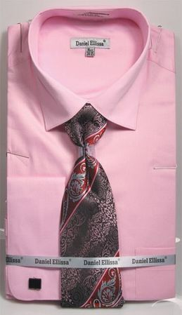 Pink Spread Collar Shirt with Tie Set French Cuffs (100% Cotton) DE DS3798P2