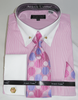 Pink Stripe Collar Bar Dress Shirt and Tie Set Avanti DN88