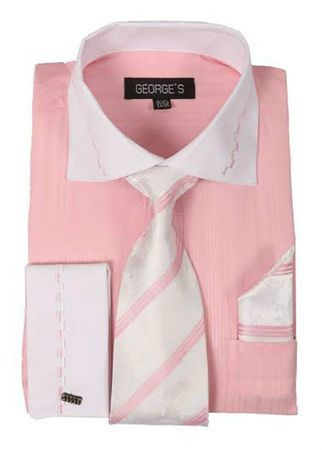 Pink White Collar French Cuff Dress Shirt Tie Set AH621
