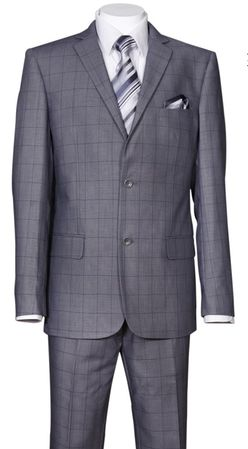 Fitted Plaid Suit Men's Gray Windowpane Pattern Milano 570203