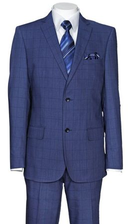 Fitted Plaid Suit Men's Navy Blue Square Pattern Milano 570203