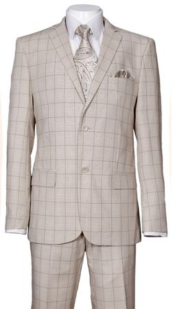 Fitted Plaid Suit Men's Tan Square Pattern Milano 570203