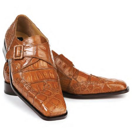 Mauri Cognac Alligator Shoes Monk Strap Preacher 4913