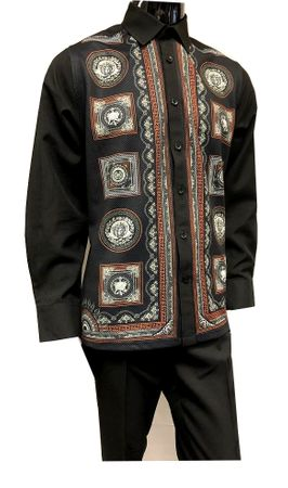 Prestige Mens Black Digital Pattern Long Sleeve Outfit PM-736