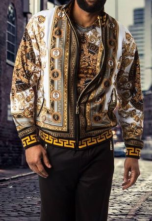 Prestige Tracksuit Black Gold Greek Medusa Artwork Set JGS312