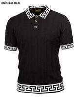 Prestige Black Greek Key Polo Collar Short Sleeve Shirt CMK945