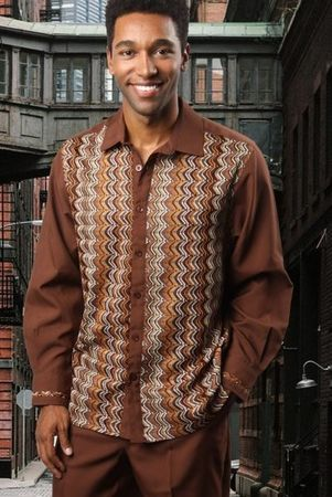 Prestige Brown Knit Front Long Sleeve Casual Outfit PM-770 - click to enlarge