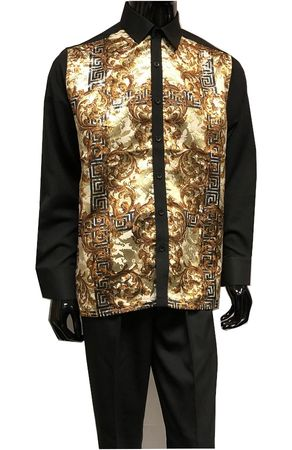 Prestige Black Gold Metallic Long Sleeve Walking Suits PM830