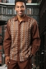 Prestige Brown Knit Front Long Sleeve Casual Outfit PM-770