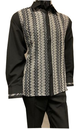 Prestige Black Knit Front Long Sleeve Leisure Outfit PM-770