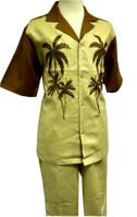 Prestige Mens Irish Linen Walking Suit Toffee Palm Design LUX778