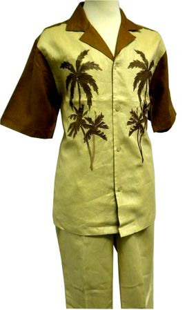Prestige Mens Irish Linen Walking Suit Toffee Palm Design LUX778  Size XL/40