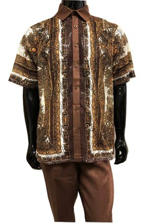 Prestige Brown Linen Greek Lace Front Outfit Men LUX986