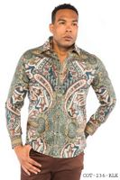 Prestige Designer Club Shirt Mens Green Paisley No Tuck Button Down COT-236
