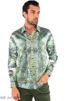 Prestige Designer Club Shirt Mens Money Pattern No Tuck Button Down COT-241