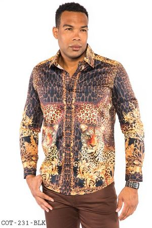 Prestige Designer Shirt Mens Black Leopard No Tuck Button Down COT-231 - click to enlarge