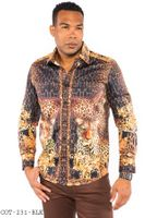 Prestige Designer Shirt Mens Black Leopard No Tuck Button Down COT-231