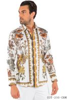 Prestige Designer Shirts Mens Cream Floral No Tuck Button Down COT-230