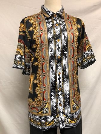 Prestige Fashionable Shirt Mens Black Medusa Print Pattern PR-519 - click to enlarge