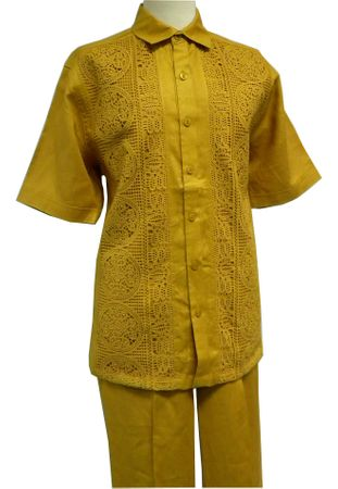 Prestige Mens Irish Linen Walking Suit Mustard Gold Mesh LUX799