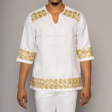 Prestige Irish Linen Tunic Shirt Pants Set Mens White Gold Design LUX-892