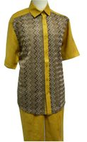 Prestige Mens Irish Linen Walking Suit Gold Knit Front LUX789