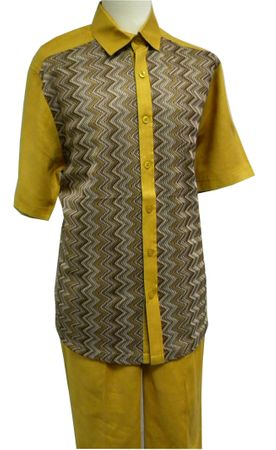 Prestige Mens Irish Linen Walking Suit Gold Knit Front LUX789 Size XL, 2XL