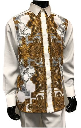 Prestige Mens White Digital Front Rayon Walking Suit PM832