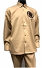 Prestige Latte Beige Unique Leather Art Long Sleeve Walking Suit PM 785