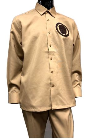 Prestige Latte Beige Unique Leather Art Long Sleeve Walking Suit PM 785 Size XL/36