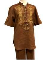 Prestige Linen Leisure Suit Mens Toffee Brown Dashiki Style LUX-774