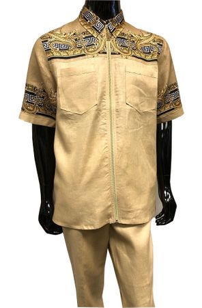 Prestige Linen Leisure Suit Mens Beige Greek Key Front LUX087