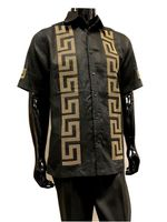 Prestige Linen Men's Outfit Casual Black Greek Key LUX 992