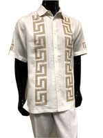 Prestige Linen Men's Outfit Casual White Greek Key LUX 992