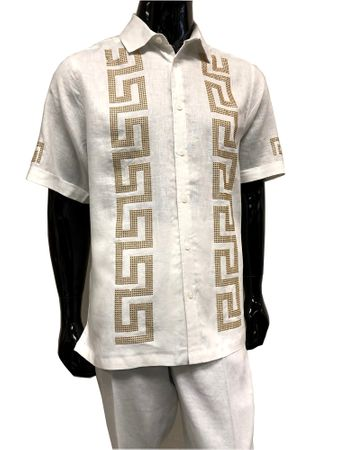 Prestige Linen Men's Outfit Casual White Greek Key LUX 992 Size XL/40