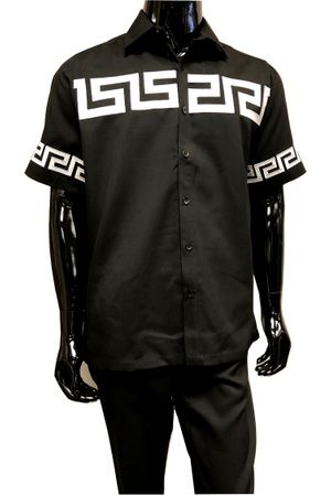 Prestige Men's Black Greek Key Embroidered Casual Outfit PM702