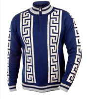 Prestige Men's Navy Greek Key Stripe Zip Neck Sweater SW-166