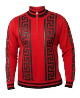 Prestige Men's Red Greek Key Stripe Zip Neck Sweater SW-166